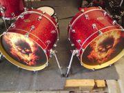 Drum-tec Diablo Red Sparkle Doublebasskesselsatz