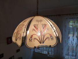 Art Deco Lampe / Deckenlampe mit Glasmalerei zu verkaufen