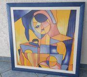 Seidenmalerei abstracktes Kunstwerk XXL mit