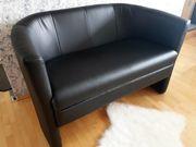 2er Leder Sofa schwarz