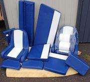 Polstersatz Kunstleder weiß - blau für