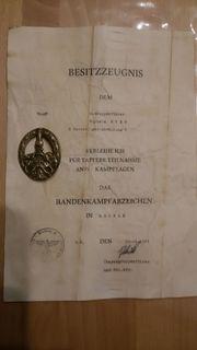 Kampfabzeichen mit Urkunde