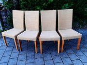 Rattan-Stühle hell 4 Stück Gebrauchs-Spuren