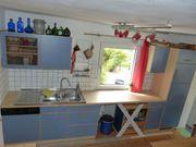 Einbauküche Küchenzeile Küche buche blau