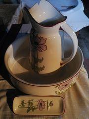 Alte antike Porzelan Waschtischgarnitur mit