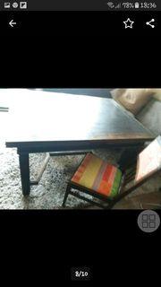 Antike Essgrupe massiver Tisch 6