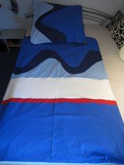 Bettwäsche Komfortgröße 155cmx220cm blau weiß