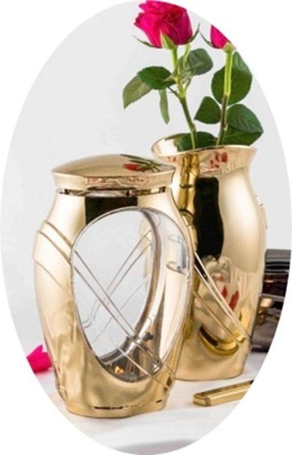 Exclusives Grabschmuck-Set Kamelia Grablampe Grabvase