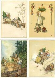 Vintage Weihnachtskarten Nikolaus Engel Weihnachtsmarkt