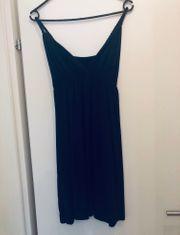 blaues Kleid One Size V-Ausschnitt