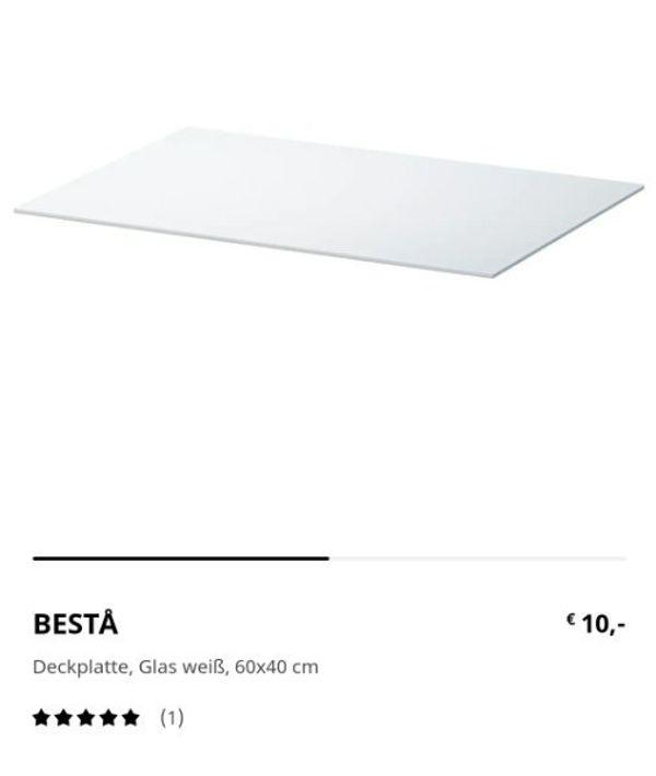 Besta Glasplatte Weiß 60x40 cm