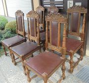 6 altdeutsche Eichenholz-Stühle