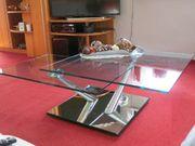 Couchtisch drehbar Glas mit Spiegelfuß