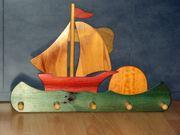 Kleiderhaken Wandgarderobe für Kinder Holz