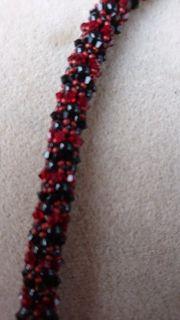 Halskette Swarovskielemente rot schwarz Schmuck