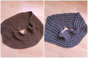 Schal beige und grau Strickschal