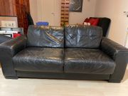 Sofa Leder schwarz Zweisitzer