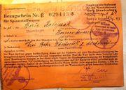 Zeitdokument Bezugsschein v 1944 Bombenschaden