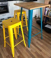 Hochtisch mit 2 Stühlen - Holz