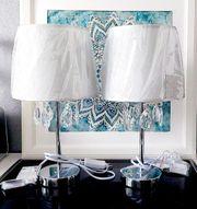 2 Tischlampen Tischleuchten mit Acrylkristallen