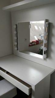 Schmink- Schreibtisch Spiegel Regal Holzrückwand