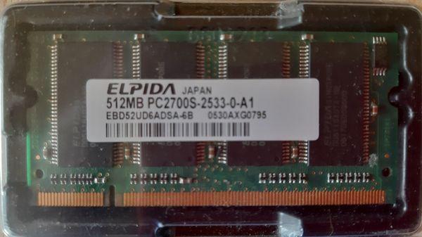 Arbeitsspeicher ELPIDA 2stück jeweils 512