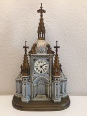 Vintage Lenzkirch Porzellan-Uhr Kirche mit