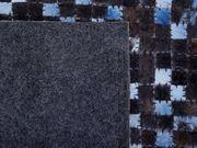 Teppich Kuhfell braun blau 140