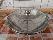 Edelstahl Wok mit Glasdeckel