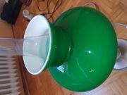 Tischlampe grüner Glasschirm und Zinnfuß