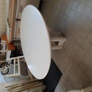 Esszimmertisch Oval massiv weiß mit