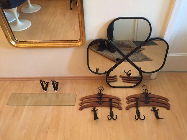 Spiegel Garderobenspiegel Schmiedeeisen mit Zubehör