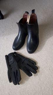 Kinder-Reit-Stiefletten Gr 35 und Reit-Handschuhe