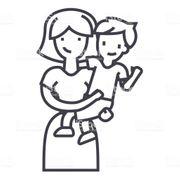 Sympathische Mutter mit einem Kind