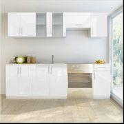 Küchenzeile 7-tlg Hochglanz Weiß 240