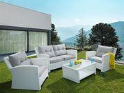 Lounge Set weiß 4-Sitzer Auflagen