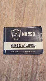 Adler MB 250 Original Betriebs-Anleitung