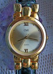 Neuwertige elegante Damen-Marken-Armbanduhr Lederarmband neue