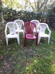 Plastik Gartenstühle 5 Stück je