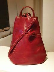 Damen Rucksack rot echtes Leder