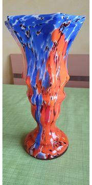 mehrfarbige Glasvase Baccara antik