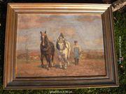 Großes Ölbild - Bauer mit Pferdegspann
