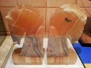 2 edle Buchstützen aus Tecali-Onyx