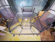 Balkon- Gartenset Glastisch mit 4