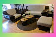Couch 3-Sitzer Hocker Sessel braun