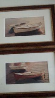 Zwei Gemälde Aquarelle Themen Ruderboote