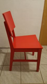 IKEA NORVALD Holzstuhl Farbe rot