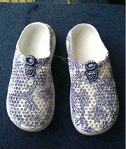 schöne blau-weiße Clogs Gr 36
