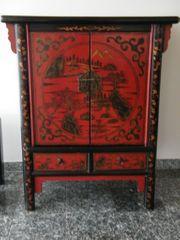 Schrank schwarz rot chinesisch Rarität