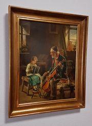 Antik Ölgemälde Wien Musik Schule